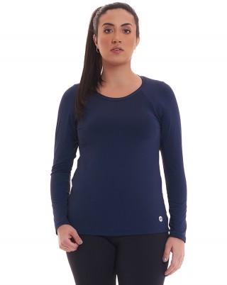Camiseta Manga Longa Marinho Proteção Solar UV50 + SND Fitness