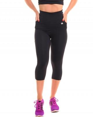 Calça Corsário Run Black Sandy Fitness