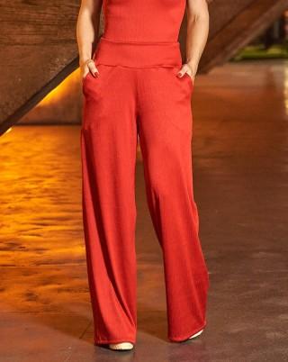 Calça Pantalona Resort Red Van Andretta SND