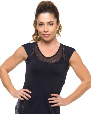 Blusa Flat Black Sandy Fitness