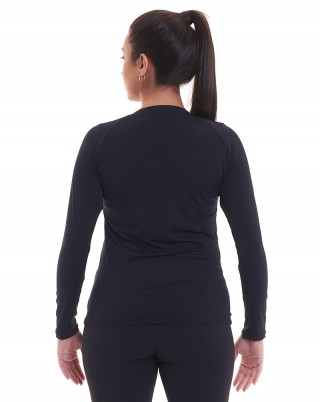 Camiseta Manga Longa Preto Proteção Solar UV50 + SND Fitness